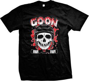 Hockey Goon Sticks Player Enforcer Fighter Tough Guy Skull Blood Men/'s T-Shirt