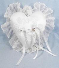 Ring Bearer Pillow White Duchess Satin Venice & Alencon Lace Display Piece