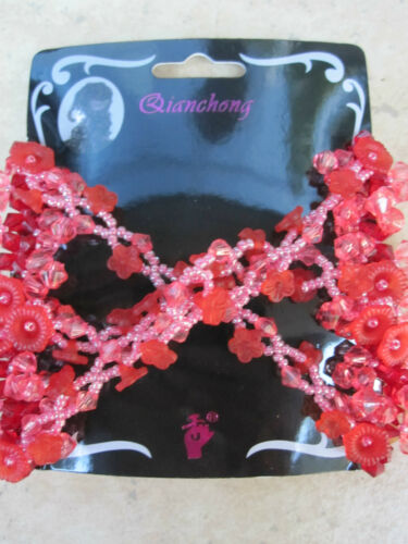 Stretch Double Beaded Hair Comb Reds /& Pink Multi Colored NEW