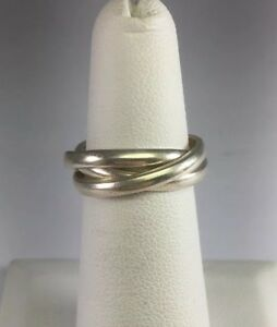 Vintage-New-Old-Stock-Sterling-Silver-3-Ring-Puzzle-Band-Ring-Size-5-R100