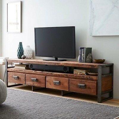 "82"" Reclaimed Solid Hardwood Steel Framed Media Console 4 Drawers spectacular"
