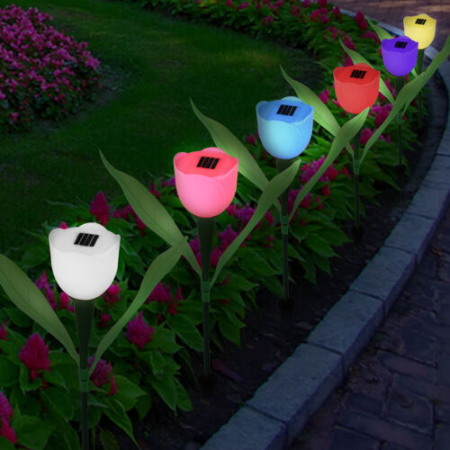 6x Solar Powered Tulip Flower LED Lights Yard Garden Path Way Stake Lamp Outdoor
