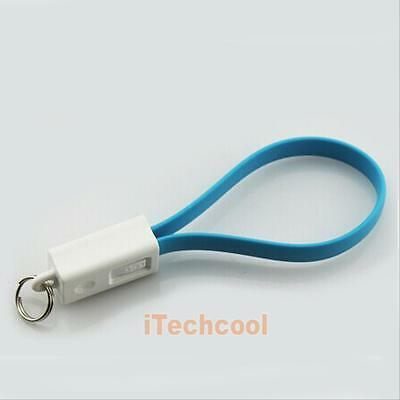 Key Chain Ring Flat 5Pin Micro USB Charger Cable Cord for Samsung HTC Cell Phone