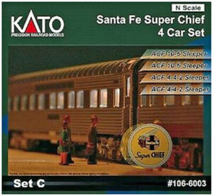 Kato-N-Scale-ATSF-Super-Chief-4-Passenger-Car-Add-on-Set-C-1066003