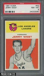 1961-Fleer-Basketball-43-Jerry-West-RC-Rookie-HOF-PSA-8-034-ICONIC-NBA-LOGOMAN-034