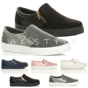 New Mens Ladies Trainers Slip On Flat Leather Gym Sneakers Pumps Shoes Size UK