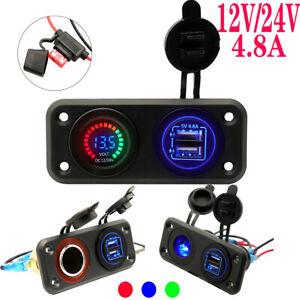 Dual-USB-Charger-Power-Socket-Adapter-Waterproof-LED-12V-24V-for-Car-Boat-Motor