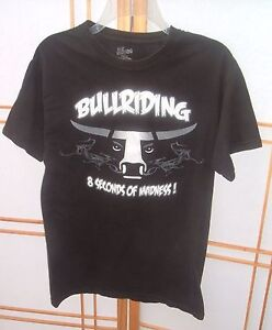 c4263c83b Details about Bull Riding 8 Seconds Of Madness Black T-Shirt western Rodeo  Cowboy Small