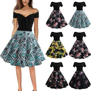 Womens-Off-Shoulder-Vintage-Rockabilly-Evening-Party-Hepburn-Swing-Skater-Dress