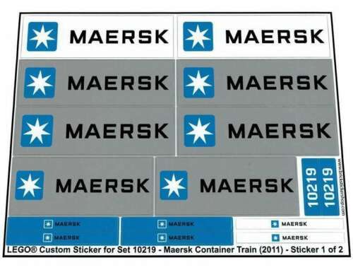 Maersk Container Train Precut Custom Replacement Stickers for Lego Set 10219