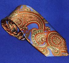 NEW ITALIAN TINO COSMA GORGEOUS ORANGE RUST BLUE GREEN PAISLEY SILK NECK TIE