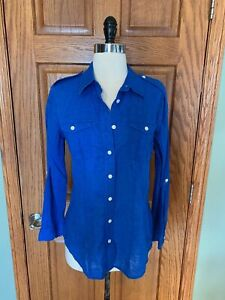 Chicos-Shirt-0-Small-Royal-Blue-Linen-Blend-Camp-Blouse-Top-Roll-Tab-Sleeve