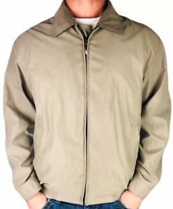 Claiborne-Outerwear-Men-039-s-Microfiber-Full-Zip-Jacket-L-Tan