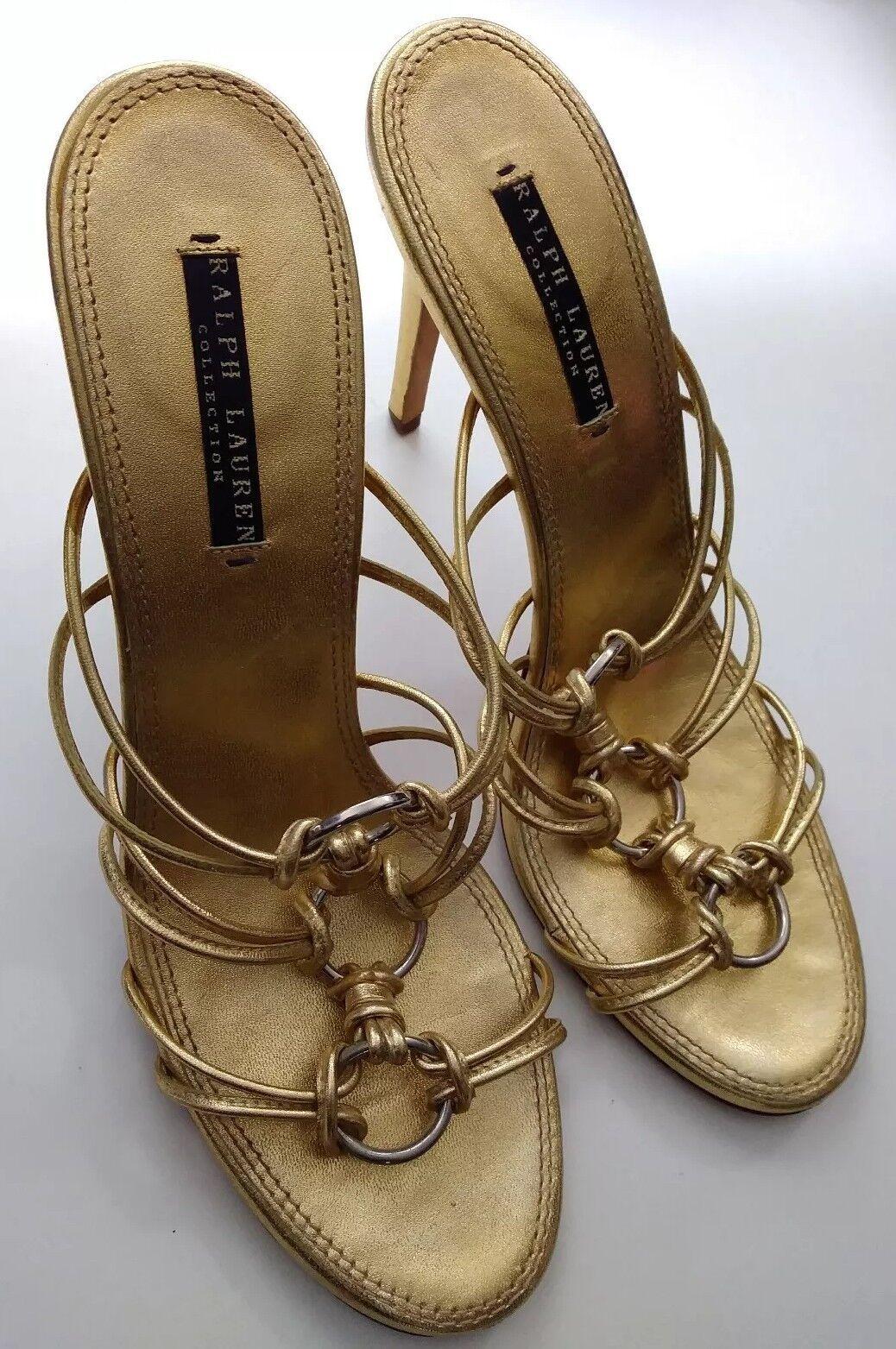 Ralph Lauren Lauren Lauren lila Label Collection 9.5B Strappy Slip On High Heel Sandals Gold 02d45f