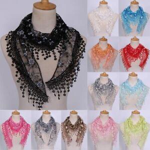 Women Lace Floral Print Triangle Veil Church Mantilla Scarf Shawl Wrap Tassel