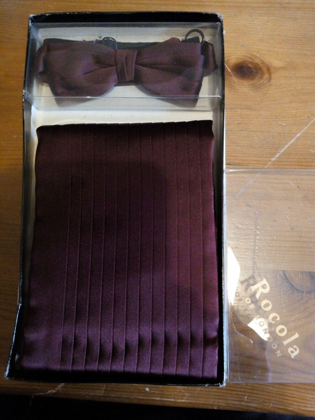 Rocola burgundy purple Cummerbund & bow tie Boxed - Ditsy Vintage 38