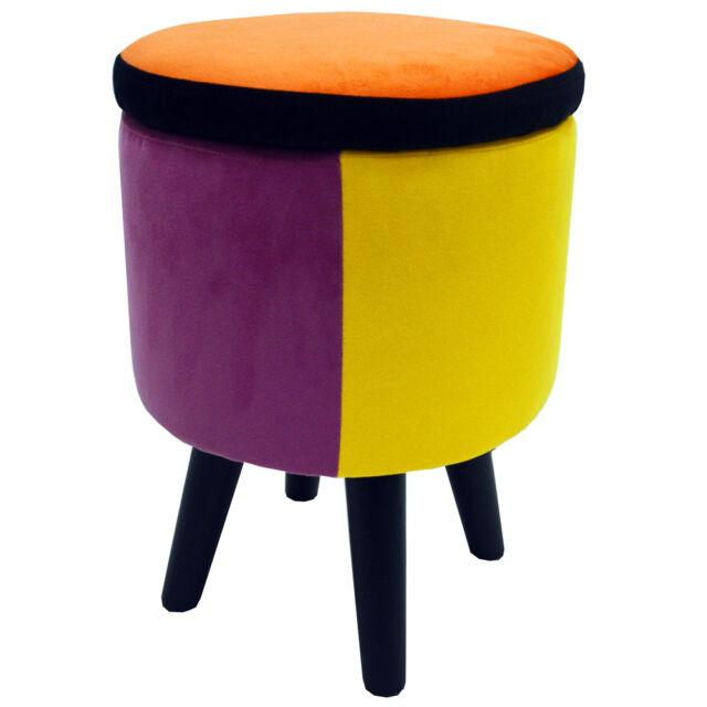 Contemporáneo redondo almacenaje taburete - Naranja/ azul/ Rosa ...
