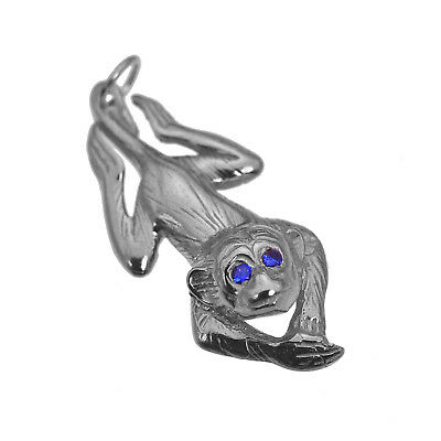 Gold Plated Sapphire eyes Dangle Monkey Sterling Silver charm pendant Jewelry