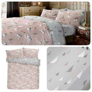 Fusion-WINTER-PENGUINS-Xmas-100-Brushed-Cotton-Duvet-Cover-Set-Fitted-Sheets