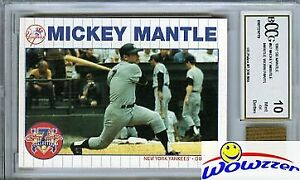 1997 Scoreboard #67 Mickey Mantle w/WORN PANTS BECKETT 10 MINT GGUM Yankees