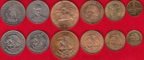 1-50 centavos 1964-1970 UNC Mexico set of 6 coins