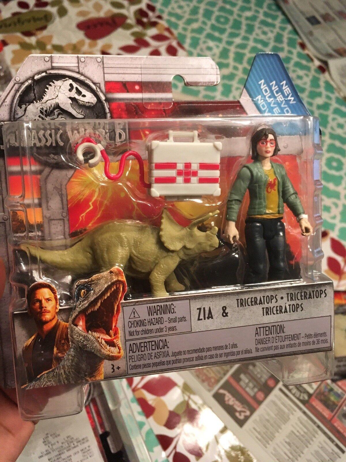 Mattel Jurassic World Fallen Kingdom 2018 Zia With Triceratops Carnotaurus Mini