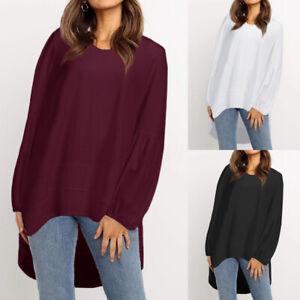 Mode-Femme-Manche-Longue-Col-Rond-Couleur-Unie-Ourlet-irregulier-Haut-Shirt