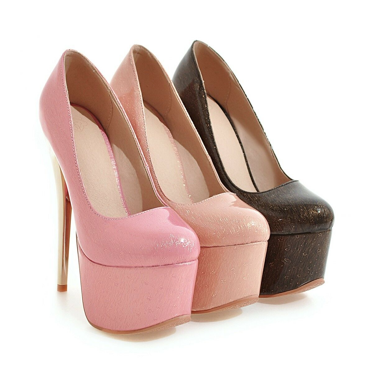 Women's High Heels Synthetic Leather Round Toe Shoes Platform Pumps US Size 2~14