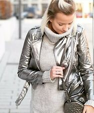 ZARA Silver Futuristic Metallic Leather Biker Jacket With Zip Studded Small S