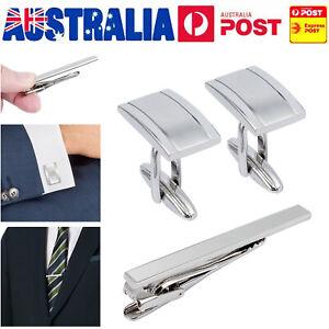 Mens-Business-Wedding-Shirt-Cufflinks-Necktie-Tie-Clip-Pin-Clasp-SILVER-AU-Stock