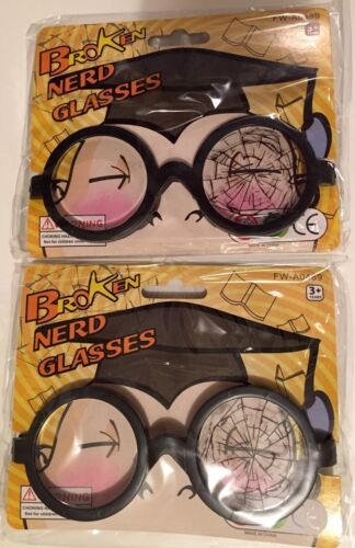 PAIR Of BROKEN NERD GLASSES GEEK FAKE FUNNY GAG COSTUME HALLOWEEN 2 TWO