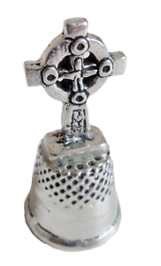 Collectible-Cornish-Pewter-Thimble-amp-Celtic-Cross-Hand-Made-In-Cornwall