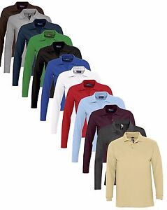 Mens-Mans-Plain-Cotton-Long-Sleeve-Pique-Polo-Shirt-No-Logo