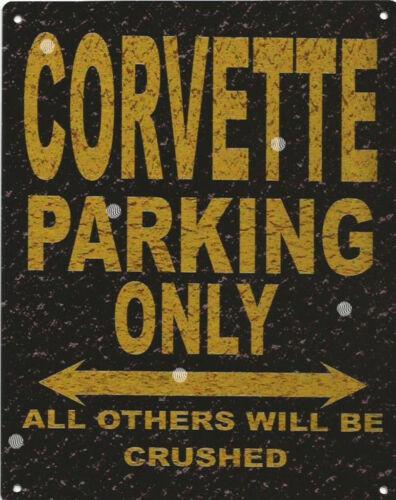 CORVETTE PARKING METAL SIGN RUSTIC VINTAGE STYLE 6x8in 20x15cm garage
