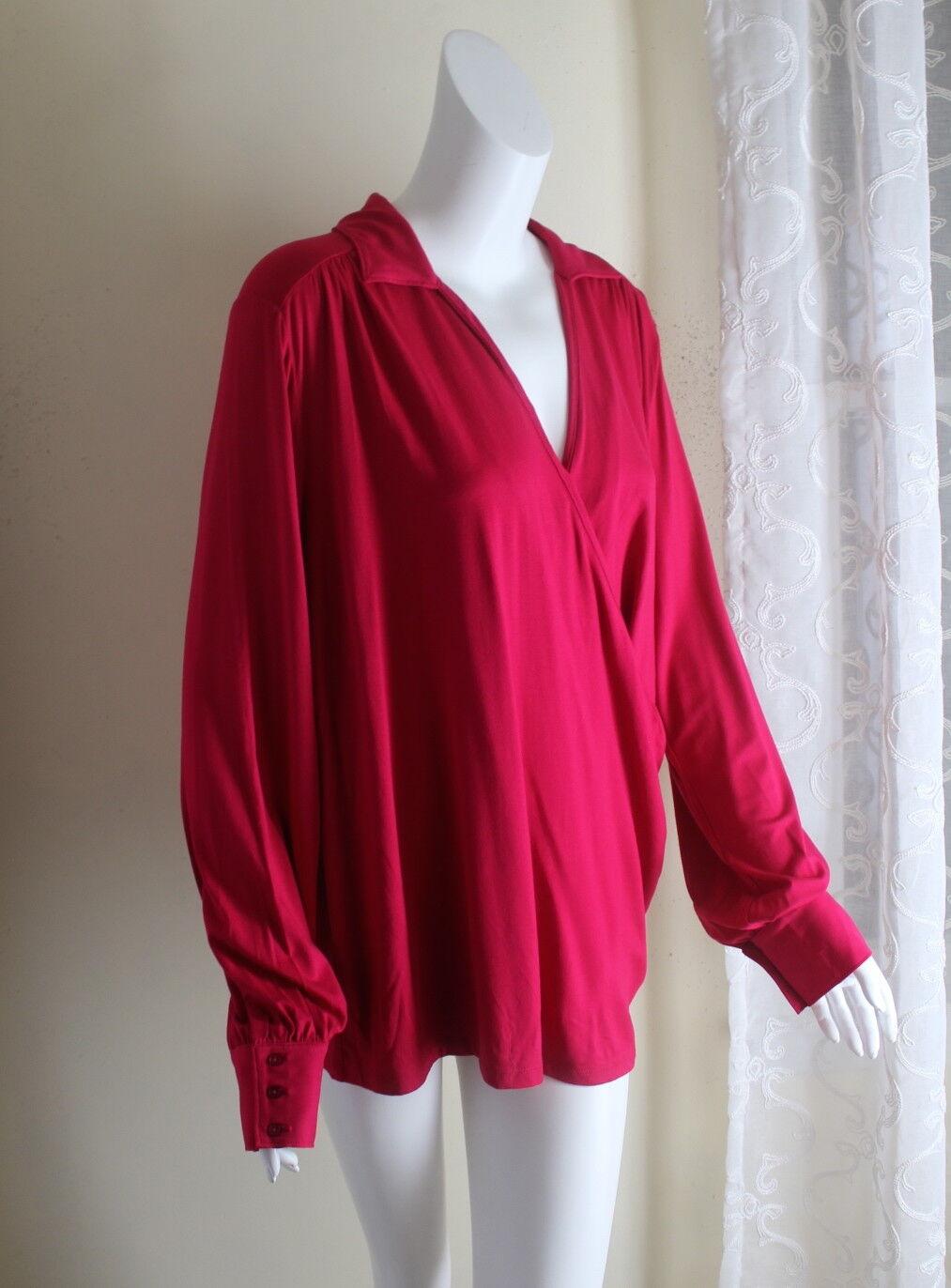 NWT Talbots -Sz 1X Rich Fuchsia Rosa Elegant Jersey Knit Wrap Shirt Top