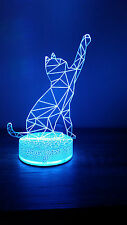 Kitty Cat 3D Bulbing illusion 7 Color LED Light Night Change Table Desk Lamp