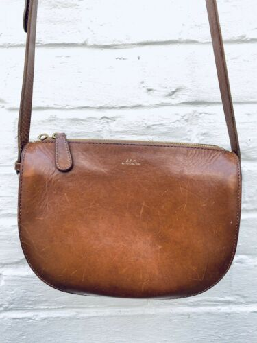 A.P.C Brown Half moon leather bag Lovely bag with
