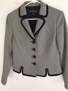 Evan-Picone-Womens-Long-Sleeved-Button-Front-Blazer-Size-8-Black-amp-White-Print