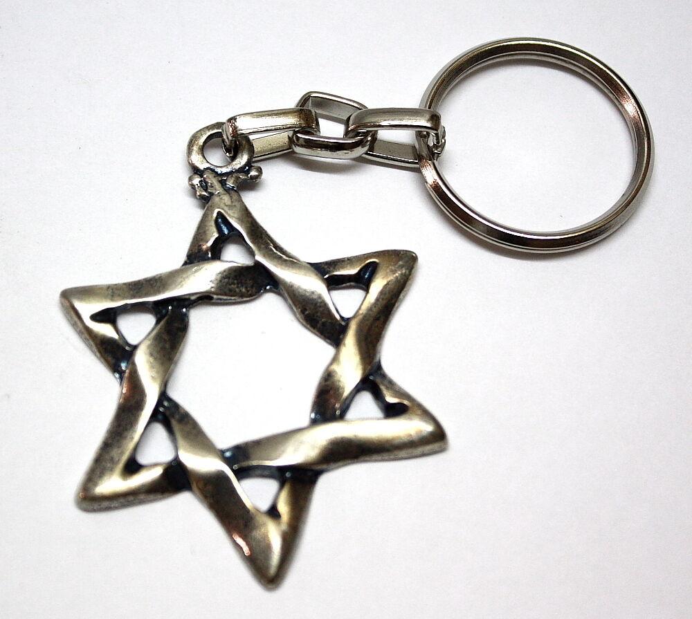 Star of David Magen Israel Judaica Kabbalah Key Ring Chain Jewish Hebrew Judaism
