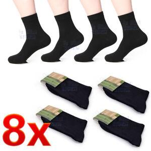 8 Pairs Black Mens Socks Bamboo Fibre Odor Resistant Sweat Natural Comfortable 646690434802
