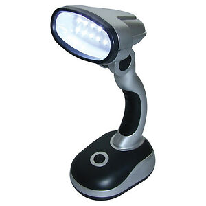 12 led bright portable lamp battery operated desk reading work table light ebay. Black Bedroom Furniture Sets. Home Design Ideas