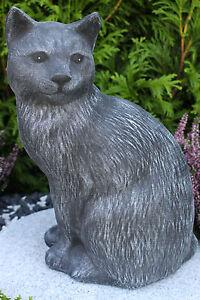 Gartenfigur Gartendeko Geschenk Figur Steinguss Tierfigur Steinfigur Katze mini