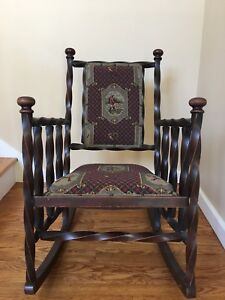 Image Is Loading Antique Rocker Rocking Chair Twisted Hunt Sporting Dog