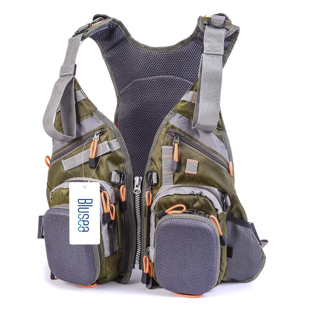 Blusea  Fishing Vest General Dimensione Multi divertimentoction Adjustable Mesh Vest With