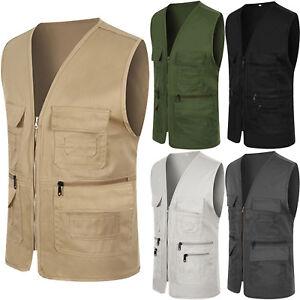 Men-Pocket-Travel-Fishing-Photograph-Waistcoat-Safari-Cargo-Outdoor-Vest-Coat-XL