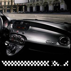 Adesivo Stickers Fiat 500 plancia scacchiera bianco racing