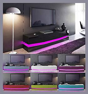Armoire de rangement meuble tv laqu blanc noir gris violet rouge bois ch ne ebay - Meuble tv violet ...
