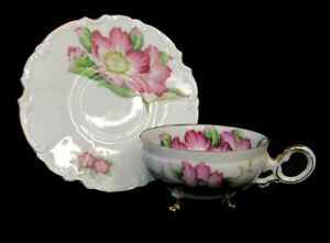 Pink Rose 3 Footed Tea Cup And Saucer Japan