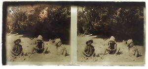 Bambini Alla Spiaggia Foto Amateur A11 Placca Da Lente Stereo