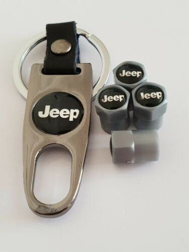 JEEP Plastic Dust Valve caps and Keychain Keyring 4 colours all Cars Wrangler